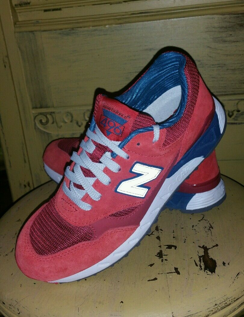 NEW BALANCE 496 Uomo RED RUNNING ATHLETIC SHOES SNEAKERS 6 M  ED ONCE