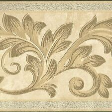 Ornate Embossed Victorian Leaf Ivory Metallic Gold - ONLY $9 - Wallpaper Border