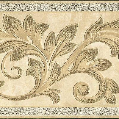 Ornate Embossed Victorian Leaf Ivory Metallic Gold - Wallpaper Border