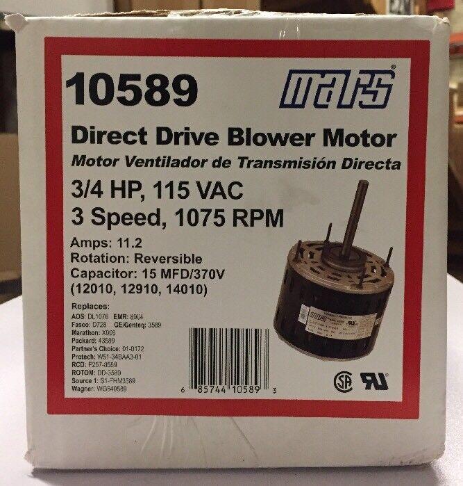 Mars 10589 3/4hp 115v 3 Speed 1075 RPM Direct Drive Blower Motor ... mars 10585 blower motor wiring diagram eBay