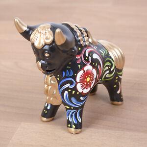 "Black Ceramic Pucara Bull 4.7"" Tall, Peru Folk art ceramic, Bull Pucara Figurine"