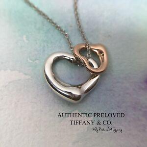 608d02cf2 Authentic Tiffany & Co Elsa Peretti Double Open Heart Silver Rose ...