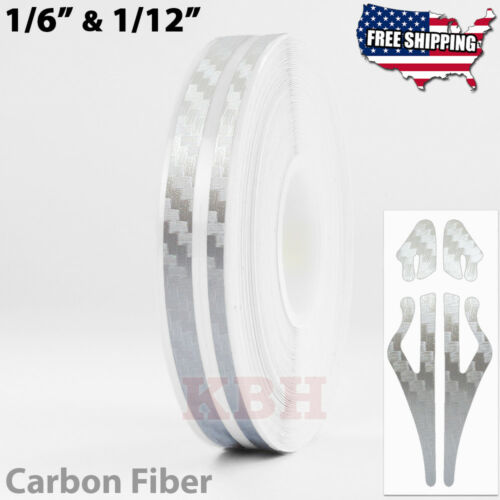 "1//2/"" Vinyl Double Pinstriping Pin Stripe Tape Sticker 12mm CARBON FIBER SILVER"