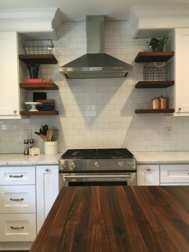 Solid Walnut Butcher Block Floating Shelf-Ready to hang-Made in the USA