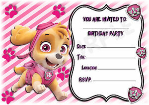 Details About A5 Nick Jr Childrens Party Invitations X 12 Paw Patrol Skye Frame Design