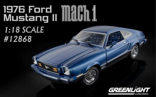 1:18 1976 Ford Mustang II Mach 1 Blue & Black Greenlight