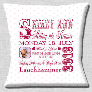 PERSONALISED-BIRTH-KEEPSAKE-Name-Date-Time-Pink-PHOTO-16-034-Pillow-Cushion-Cover