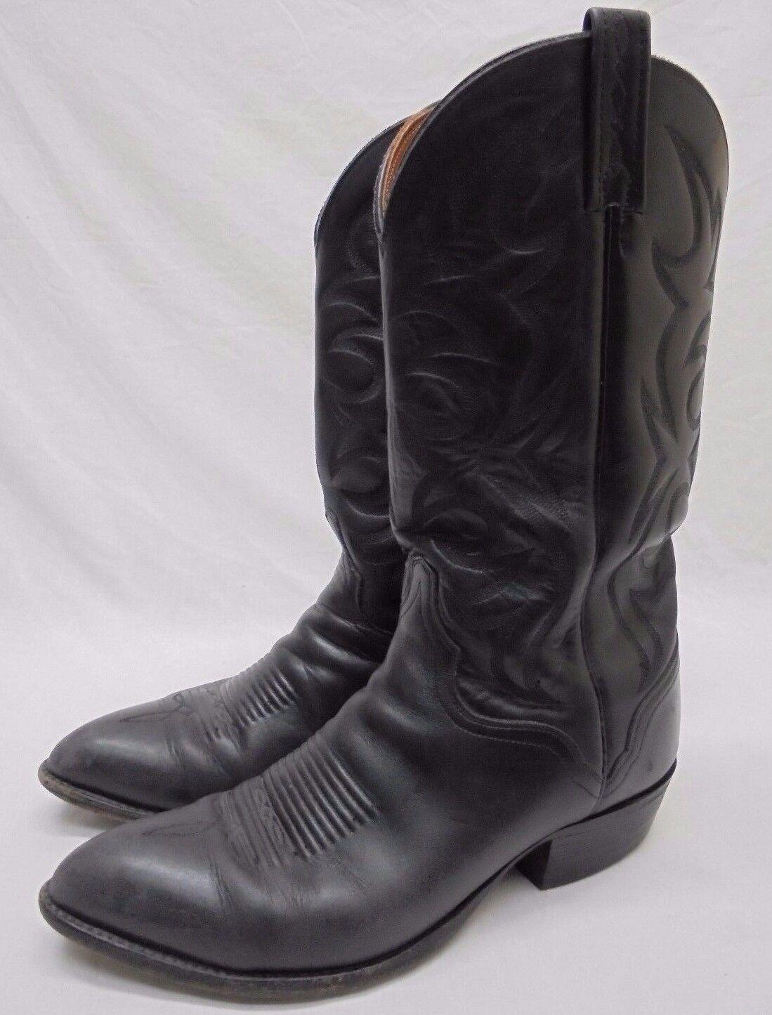 El Dorado Black Leather Tooled Cowboy Boots Size 10 EE Wide Western Handmade