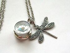 WORKING COMPASS - Sterling Silver Pltd DRAGONFLY Charm - Mini LOCKET Necklace