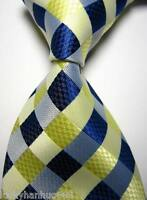 New Classic Checks Beige Blue White JACQUARD WOVEN 100% Silk Men's Tie Necktie