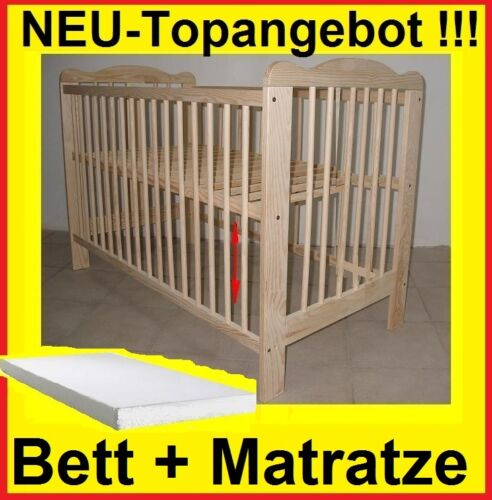 Lit Bébé Lit à Barreaux Set Complet Matelas Bois Massif Extra Brett Offre Neuf