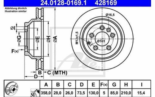 2x ATE Bremsscheiben hinten belüftet 358mm für AUDI Q7 24.0128-0169.1