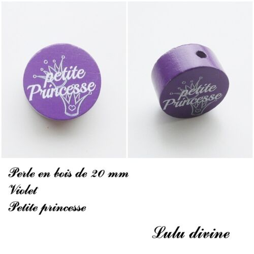 Perle en bois de 20 mm Couronne : Violet Perle plate Petite princesse