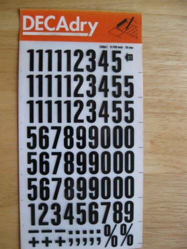 37 68 PT 0.709 pollici 18 mm 1 x DECADRY Rub-on Nero Numeri trasferimento N