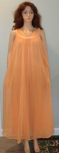 VTG SZ 1X/2X Jenelle Orange DBL Chiffon Nightgown