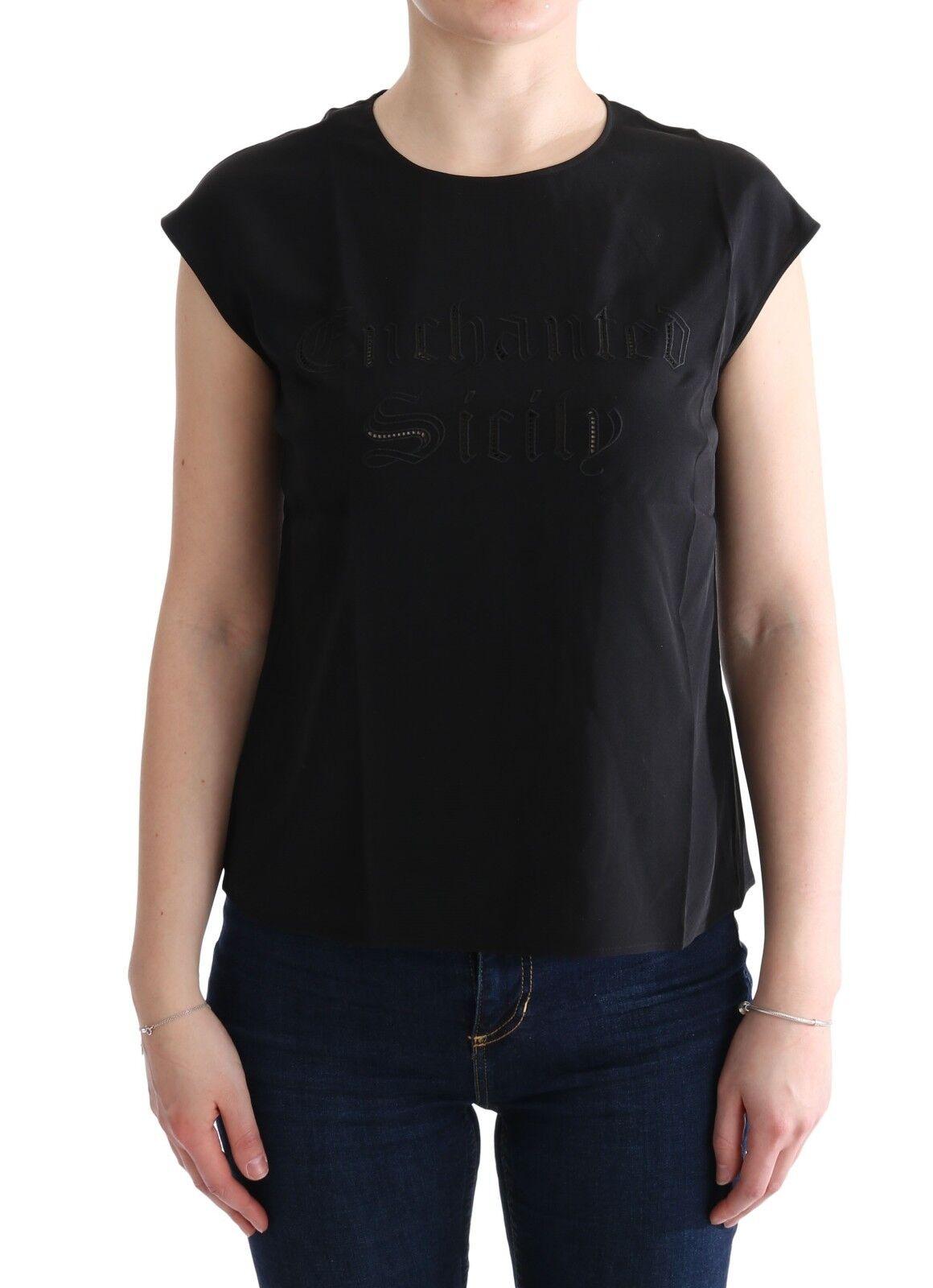 Nuevo Dolce & Gabbana Negro Enchanted Sicily Blusa de Seda Camiseta IT36/ US2/