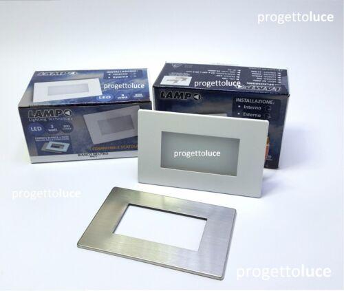 SEGNAPASSO LED 3W IP65 PER SCATOLA 503 CON CORNICE BIANCA INOX 230V LAMPO