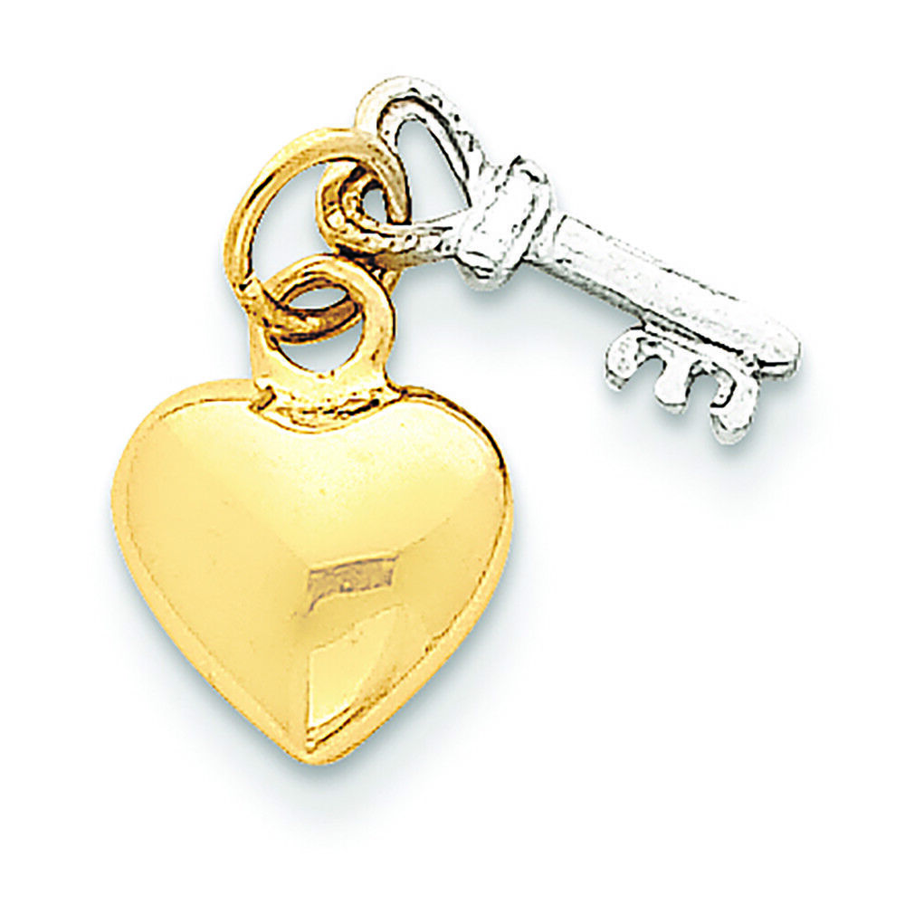 14K Two-Tone gold Key and Heart Charm Pendant MSRP  158