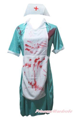 Halloween Costume Aqua Blue Bloody Surgeon Nurse Party Dress Up for Women Adult