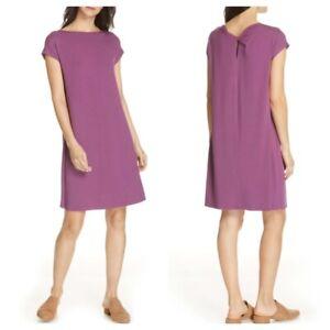 EILEEN-FISHER-Bateau-Neck-Back-Twist-Jersey-Dress-size-XS-New
