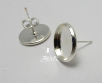 Earring cabochon stud blank settings 12 mm heart silver plated bezel lever backs