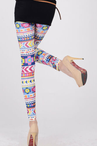 Colorful Aztec leggings stretch one size rainbow lounge booty sport leisure