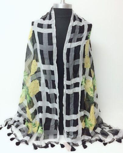 Black New Aloha pineapple w// tassels Chiffon Long Scarf Soft Wrap Shawl Cozy