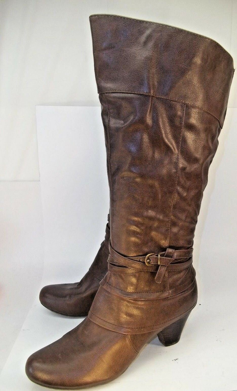 Bare Traps RYNONA Womens Boots US10M Brown Vegan Leather Zip Knee-High Casual