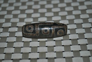 tibetan prayer worry dzi bead old agate 9 eyes amulet gzi antique tibet A38