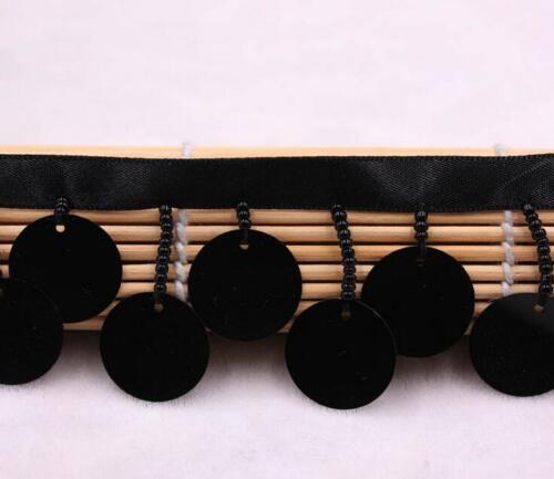 2 Yards Band Perlen Pailletten Spitze Nähen Kleidung DIY Handwerk Zubehör