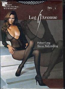 052523b8d12 Image is loading Leg-Avenue-Black-Fishnet-Long-Sleeves-Bodystocking-Style-