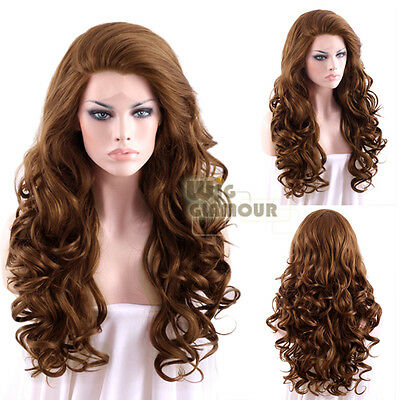 """Long Curly 26"""" Brown Lace Front Synthetic Wig Heat Resistant"""