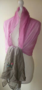 Pink-Taupe-Silk-Wrap-Shawl-Ombre-Sequin-Beads-Soft-Lightweight-Scarf-New