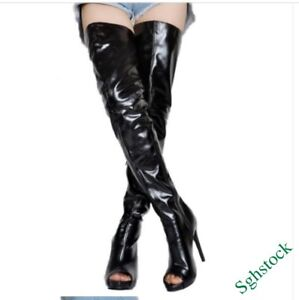 Sexy-Women-039-s-Thigh-High-Boots-Peep-Toe-Faux-Leather-Zip-Shoes-Clubwear-Party-New