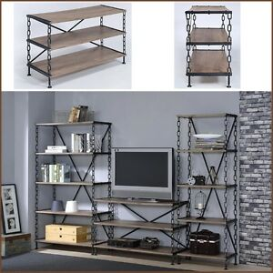Image Is Loading IndustrialTVStand EntertainmentCenterMediaConsoleTable Rustic Industrial Tv Stand A35