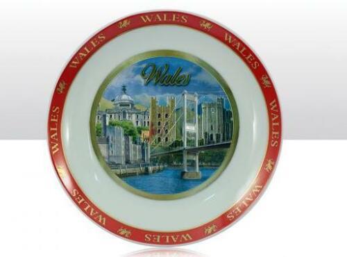 Wales Sammelteller Plate Laser Optik,Keramik,20 cm,Souvenir Great Britain