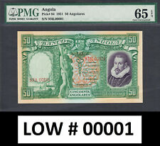 Angola 50 Angolares 1951 LOW Serial 00001 Pick-84 GEM UNC PMG 65 EPQ