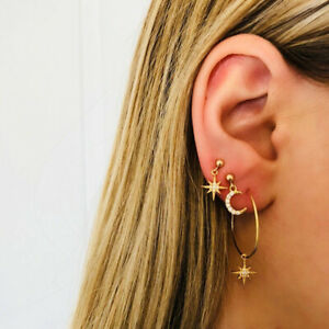 2 Pairs Women Popular Crystal Earrings Stars The Moon Ear Ring