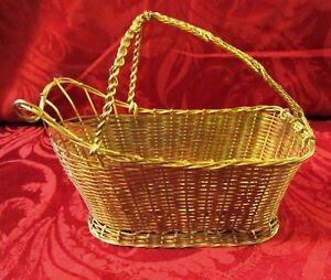 Woven Brass Wire Wine Bottle Basket/Caddy With Handle | eBay