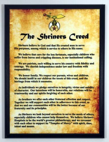 SHRCR-912 Shriner/'s Creed Full Color Plaque