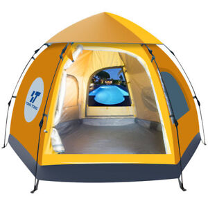 Waterproof-5-6-People-Automatic-Instant-Pop-Up-Brown-Tent-Camping-Hiking-Tent