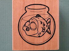 Humorous Big Fish in Small Fish Bowl LEIGH'S WISHING WELL Rubber Stamp