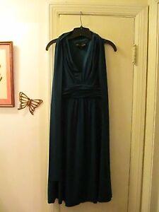 Donna-Ricco-Empire-Waist-Sleeveless-Stretchy-Knit-Dress-Size-8-Teal