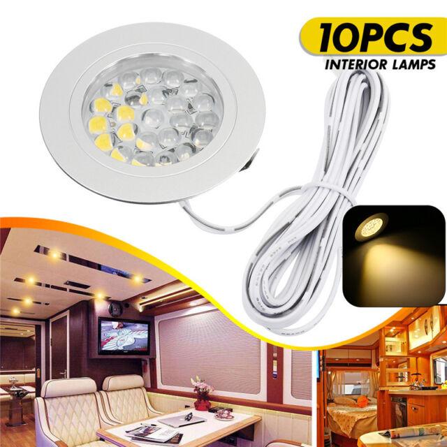 10PCS 12V LED Spot Lights Interior Lamps For Transporter Camper  Boat Warm White