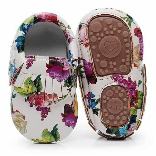 One Pair Hard sole floral print PU Leather Fringe baby moccasins baby shoes Non