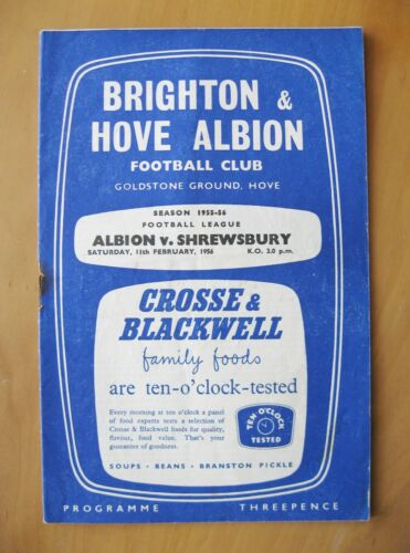 BRIGHTON v SHREWSBURY TOWN 19551956 VG Condition Football Programme