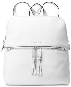 246a4b9b6cbf New Michael Kors Rhea Zip Slim Backpack optic white pebble leather ...