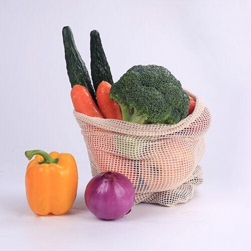 Reusable Cotton Mesh Fruit Bag  Drawstring Grocery Fruit Storage Shopping Bags