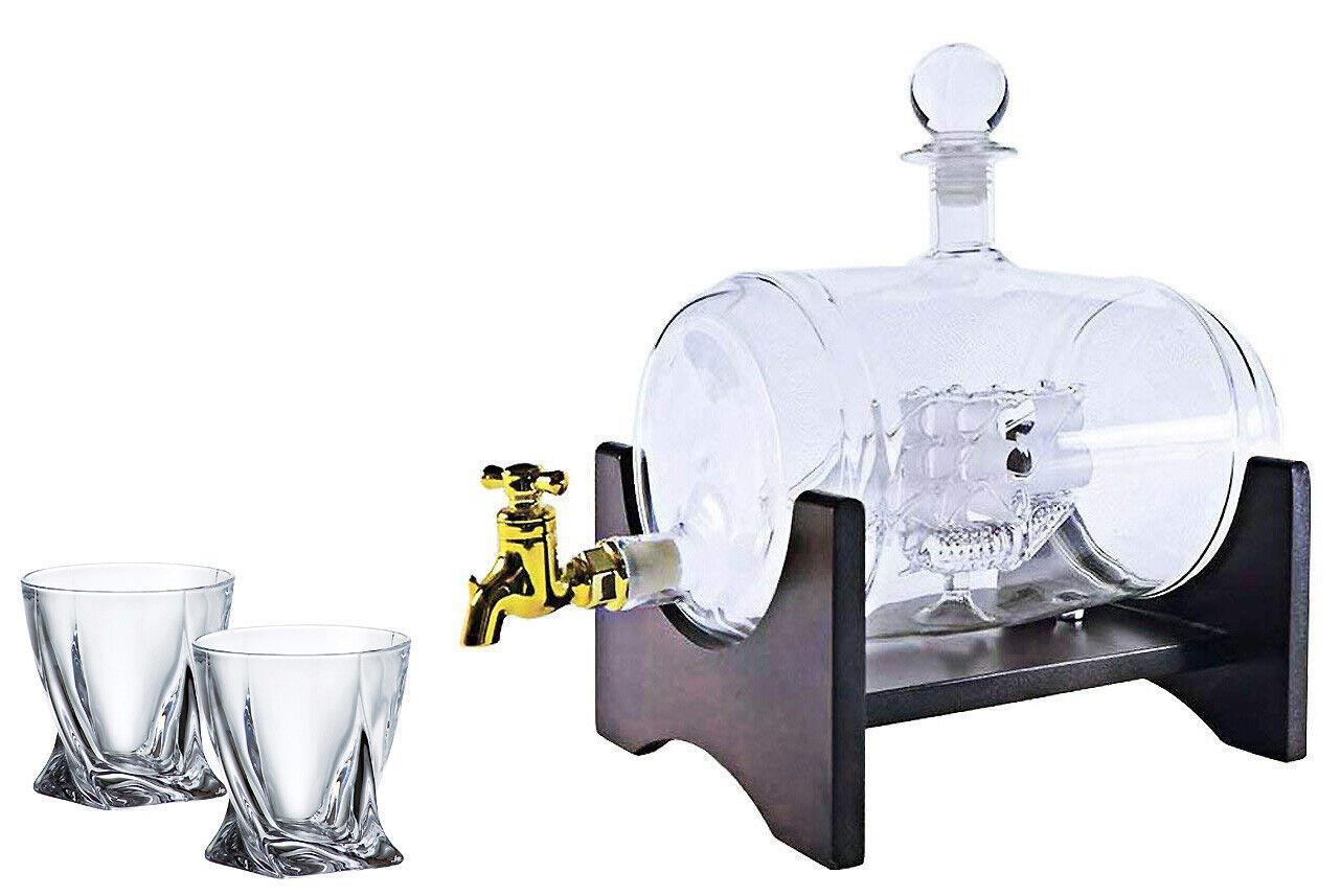 40 Oz 'Barrel' Handmade Whisky Decanter Set, Spirits Dispenser + Diamond Glasses