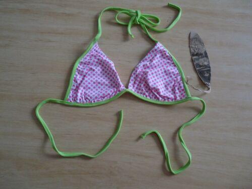 BNWT Fat Face ladies pink white polka dot green bikini top ~ UK Size 8 10 14